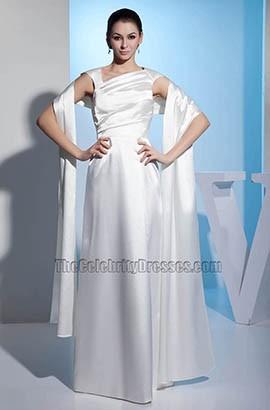 Elegant Floor Length Satin A-Line Wedding Dress With A Wrap