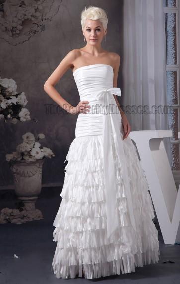 Floor Length Strapless A-Line Bridal Gown Wedding Dress