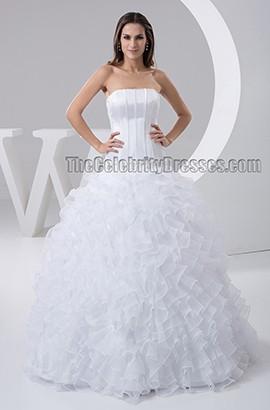 Floor Length Strapless Ruffles Beaded Wedding Dresses