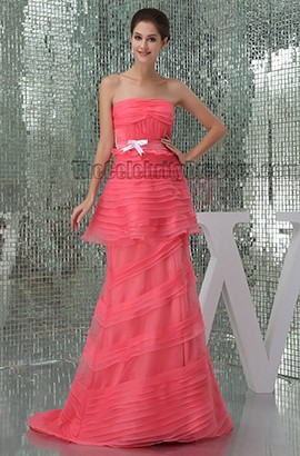Watermelon Strapless Formal Dress Prom Evening Gowns