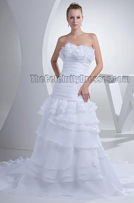 Graceful A-line Strapless Chapel Train Chiffon Wedding Dress Bridal Gown