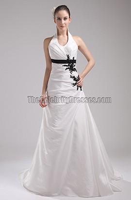 Halter A-Line Taffeta Chapel Train Wedding Dresses