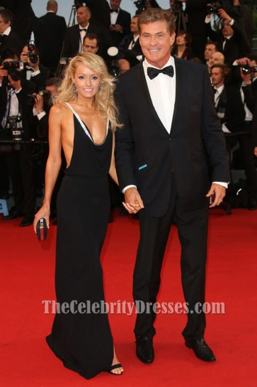Hayley Roberts Black Backless Prom Dress 66th Cannes Film Festival