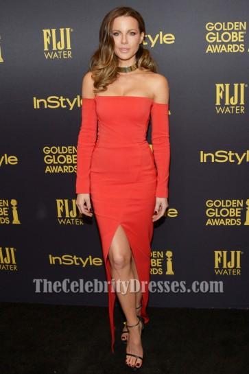 Kate Beckinsale robe de soirée rouge robe de soirée hors-la-épaule