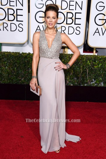 Kate Beckinsale robe de soirée formelle col V 72e annuelle Golden Globe Awards