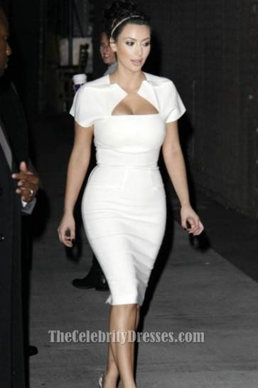 Kim Kardashian White Bodycon Cocktail Party Dresses TCDTB6209