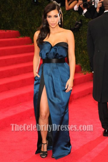 Kim Kardashian Blue And Black Prom Dress MET Gala 2014 Red Carpet