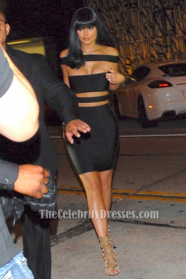 Kylie Jenner sexy bandage noir Party robes de cocktail