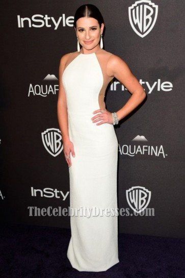 Lea Michele robe de soirée blanche 73e annuelle Golden Globe Awards Robes de fête