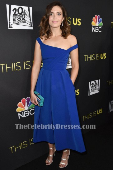 "Mandy Moore Robe Bleu Royal Robe Classique ""This is Us"" FYC"