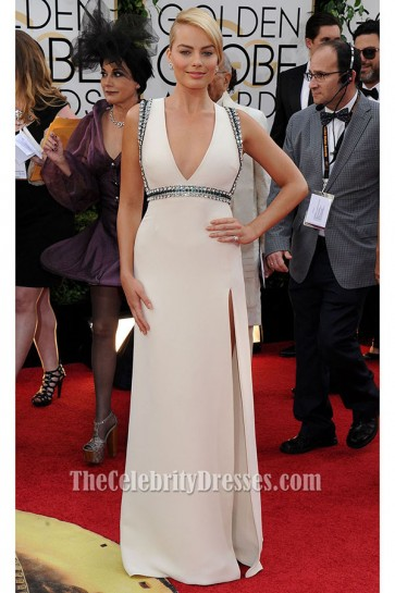 Margot Robbie Beaded Formal Dress 2014 Golden Globes Red Carpet