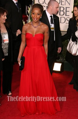 Mary J. Blige Red Strapless Prom Dress Golden Globes 2007 Celebrity Gowns