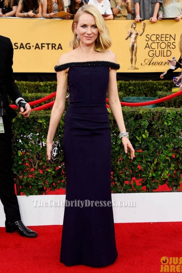 Naomi Watts marine robe de soirée formelle Off-épaule 2015 Screen Actors Guild Awards