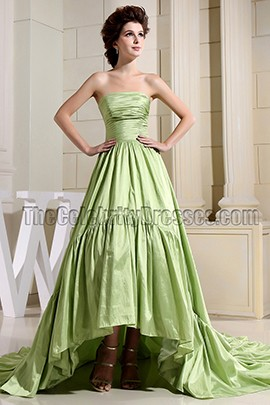 Green High Low A-Line Strapless Prom Dress Formal Dresses