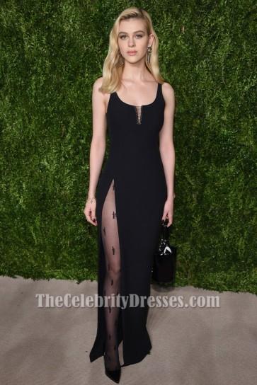 Nicola Peltz robe de soirée haute fente noire 13e CFDA Vogue Fashion Fund Awards