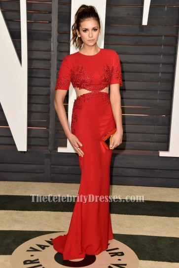 Nina Dobrev Robe de Soirée Brodée Rouge Soirée Vanity Fair Oscar Party 2015
