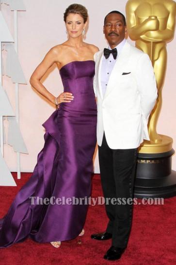 Paige Butcher violet robe formelle sans bretelles Vanity Fair Oscar Party 2015