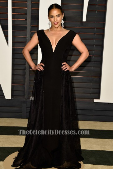 Paula Patton Robe de Soirée Noire Vanity Fair Oscar Party 2015