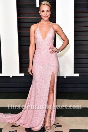 Rachel Mcadams Sexy robe de soirée rose pailleté vanity fair oscars 2016