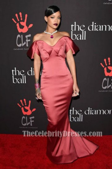 Rihanna Red Formal Dress Rihanna's 1st Annual Diamond Ball Benefit TCD5991