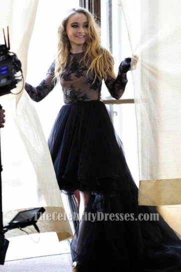 Robe de bal noire haute basse de Sabrina Carpenter 'Eyes Wide Open'