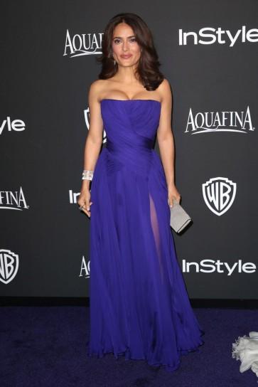 Salma Hayek bleu royal robe de soirée 2015 InStyle et Warner Bros Golden Globe Awards Post-Party