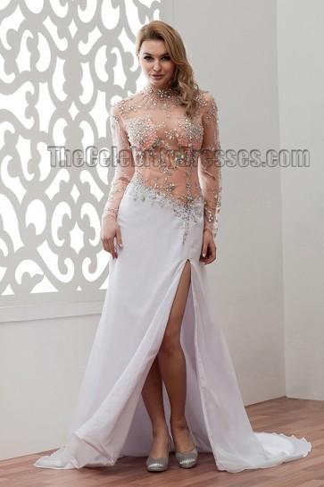Sexy Long Sleeve See Through Beaded Wedding Dresses