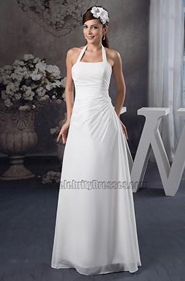 Sheath/Column Halter Floor Length Wedding Dress Bridal Gown