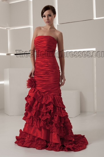 Sheath\Column Red Strapless Sweep/Brush Train Wedding Dresses