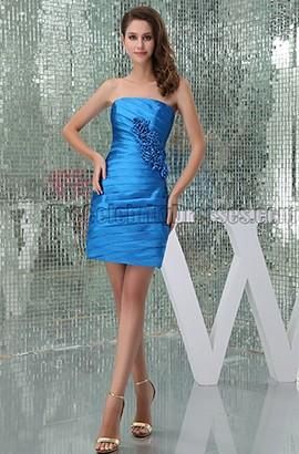 Sheath/Column Short Strapless Royal Blue Party Homecoming Dresses