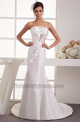 Sheath/Column Strapless Chapel Train Wedding Dress Bridal Gown