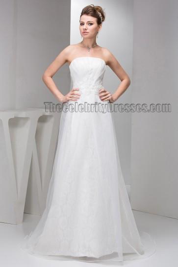 Sheath/Column Strapless Organza Lace Sweep/Brush Train Wedding Dress