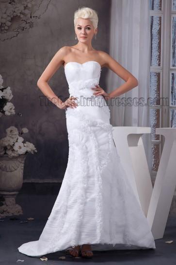 Sheath/Column Strapless Sweep/Brush Train Wedding Dresses