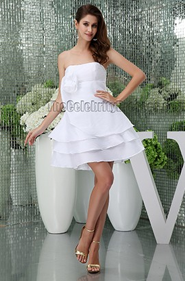 Short A-Line White Strapless Party Homecoming Graduation Dress