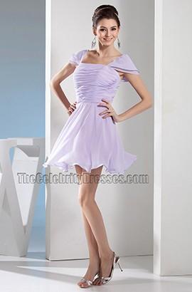 Short Cap Sleeve Lilac Chiffon Party Homecoming Dresses