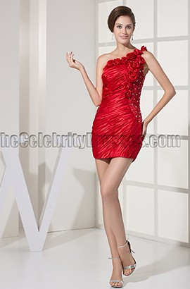 Short Mini Red One Shoulder Party Homecoming Dresses