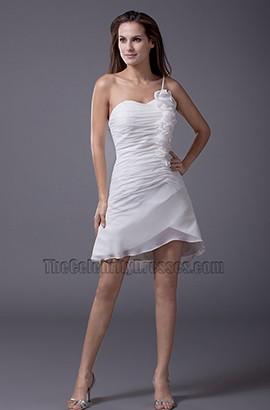 Chic Short Mini One Shoulder Wedding Dress Party Dresses