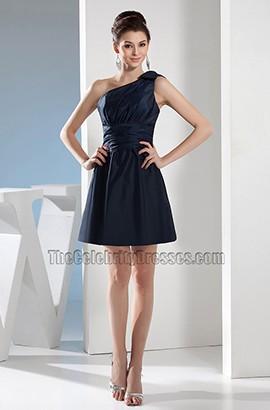 Short Dark Navy One Shoulder Party Homecoming Dresses