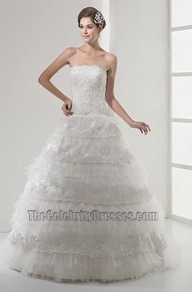 Stunning Strapless Embroidery A-Line Organza Wedding Dress