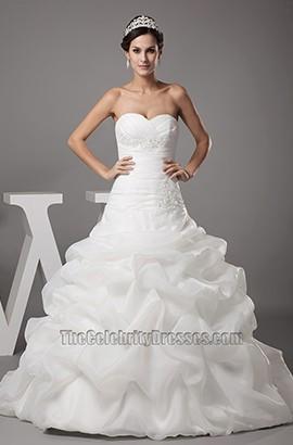 Strapless Sweetheart A-Line Ruffles Organza Wedding Dresses
