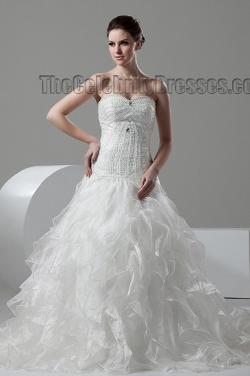 Strapless Sweetheart A-Line Ruffles Wedding Dresses Bridal Gown