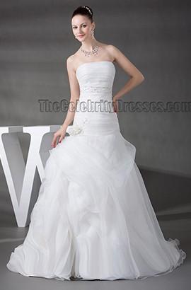 Sweep/Brush Train Strapless Organza A-Line Wedding Dress