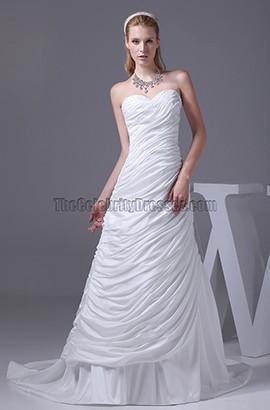 Sweetheart Strapless A-line Chapel Train Taffeta Wedding Dress