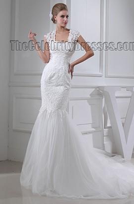 Trumpet/Mermaid Cap Sleeves Chapel Train Wedding Dresses