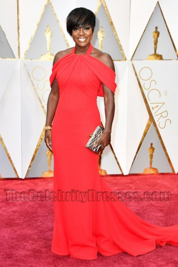 Viola Davis 2017 Oscars Red Formal Dress Red Carpet Celebrity Gowns