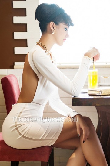 Sexy Short White Backless Bandage Cocktail Party Dresses TCDB031