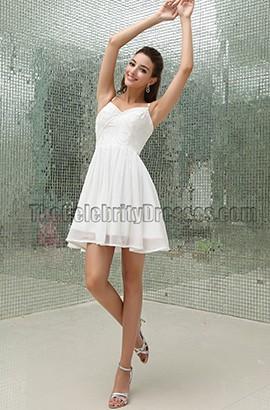 White Short Beaded Party Homecoming Graduation Dress
