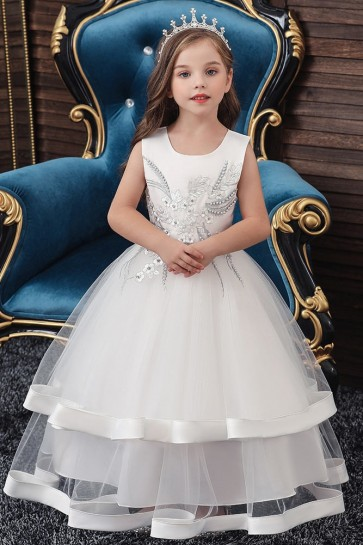 Ball-Gown Embroidery Flower Girl Dress