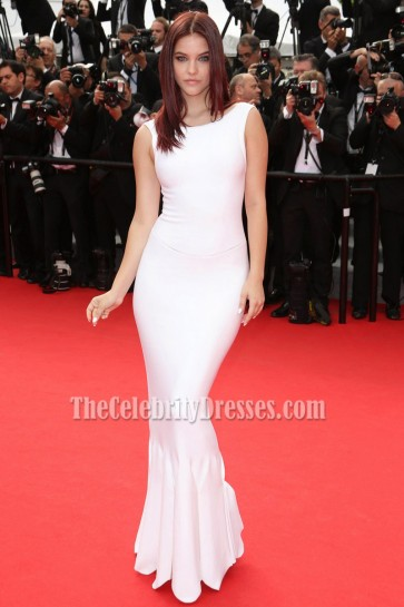 Barbara Palvin White Mermaid Long Evening Prom Gown 67th Annual Cannes Film Festival 1