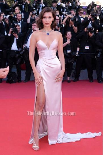 Bella Hadid Pearl Pink Strapless Thigh-high Split Slip Prom Evening Dress Cannes Film Festival 2017